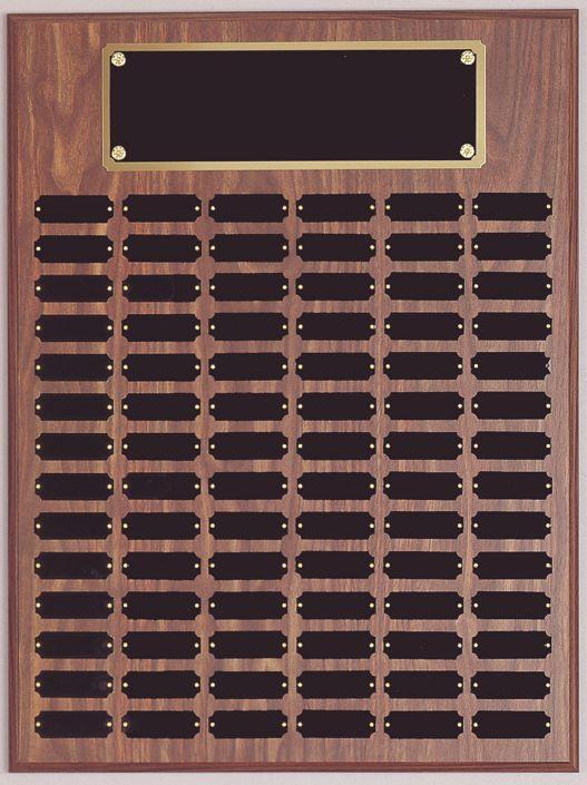 Large Walnut finish Perpetual Plaques w/ Black brass plates